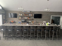 The bar in the Albatross Events Center at Leonard Country Club